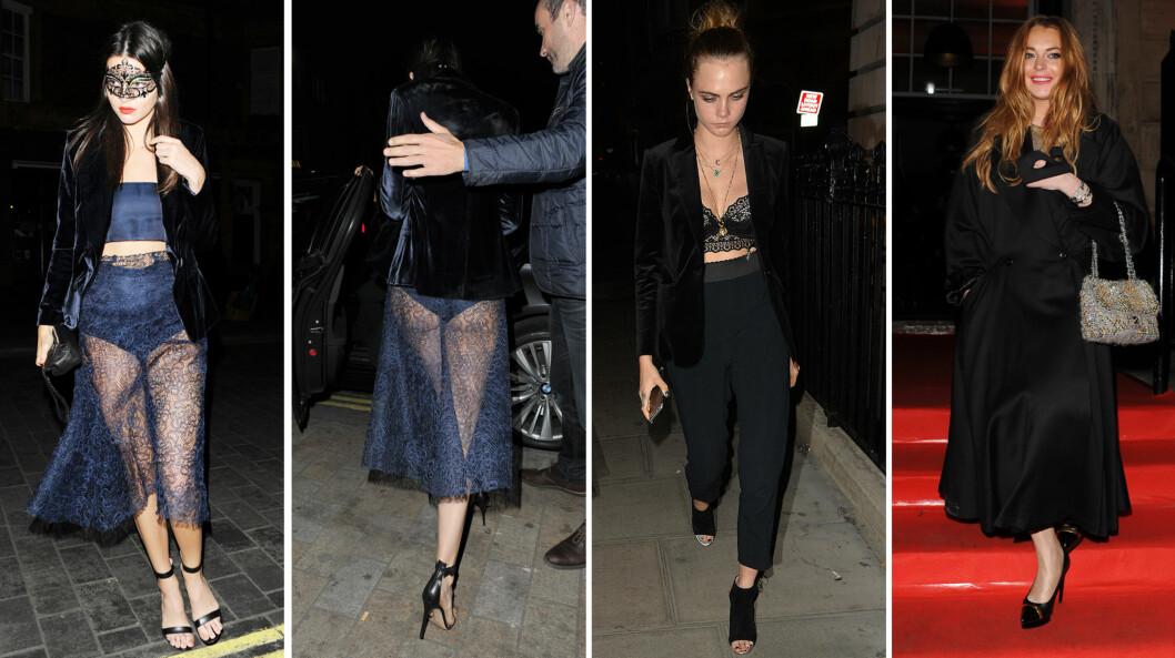 VISTE SEG FREM: Kendall Jenner, Cara Delevingne og Lindsay Lohan var blant dem som kastet glans over VIP-festen til Roberto Cavallis kone i London fredag kveld.  Foto: NTB Scanpix