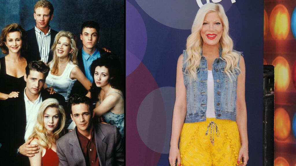 TIL SENGS MED TO KOLLEGER: Tori Spelling har avslørt at hun gikk til sengs med både Jason Priestley (nede til venstre) og Brian Austin Green (oppe til høyre) mens hun spilte inn Beverly Hills 90210 på 1990-tallet. Foto: NTB Scanpix