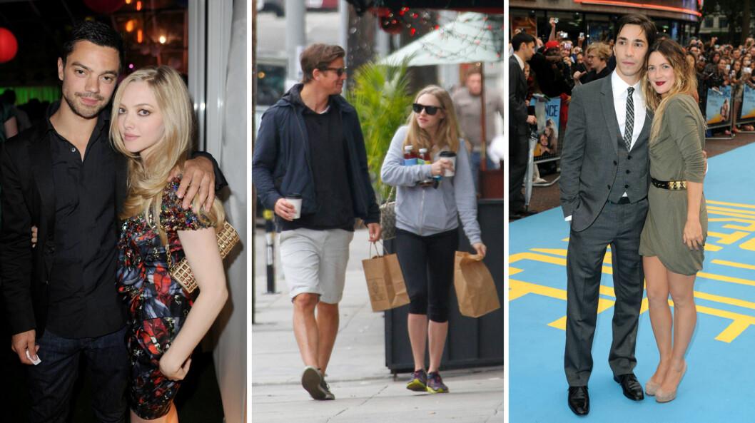 BERØMTE EKSER: Amanda Seyfried har tildigere datet blant andre Dominic Cooper og Josh Hartnett, mens Justin Long har vært sammen med eksempelvis Drew Barrymore (t.h).  Foto: NTB Scanpix