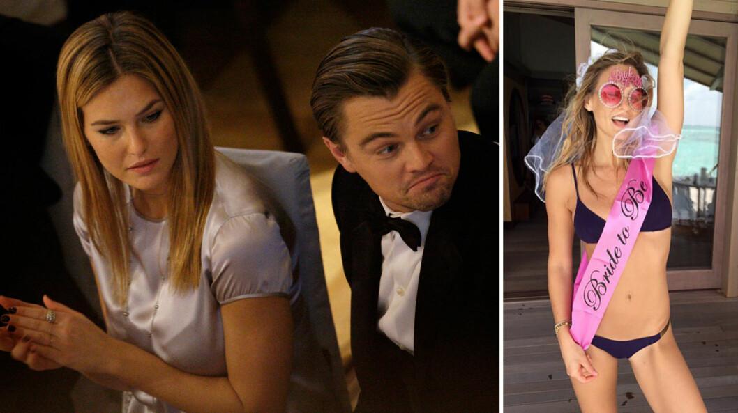 FØR OG NÅ: I 2011 ble det slutt for godt mellom Bar Refaeli og Leonardo DiCaprio (t.v.). For noen uker siden delte supermodellen, som gifter seg med Adi Ezra, et Instagram-bilde fra utdrikningslaget sitt. Foto: AP/ SipaUSA