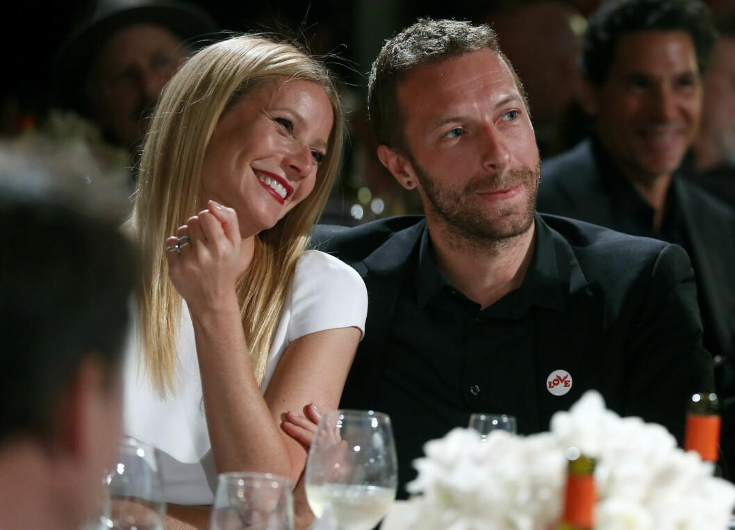 GOD STEMNING: Paltrow og eksmannen Chris Martin er fremdeles gode venner. Her er de sammen i januar i fjor like før bruddet ble kjent. Foto: Ap