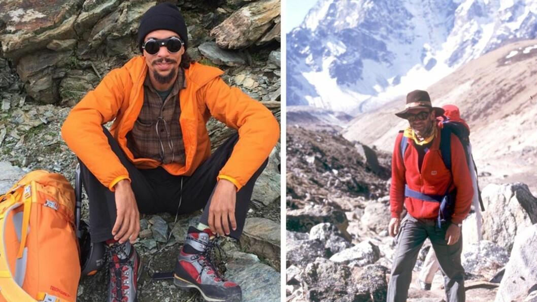 SOM FAR, SÅ SØNN: I september dro Ross Arne Næss (t.v.) på fjelltur i de sveitsiske alper - og går dermed i sin norske fars berømte fotspor. Bildet av Arne Næss jr. er tatt i Himalaya i 1985.  Foto: Skjermdump Instagram / NTB Scanpix