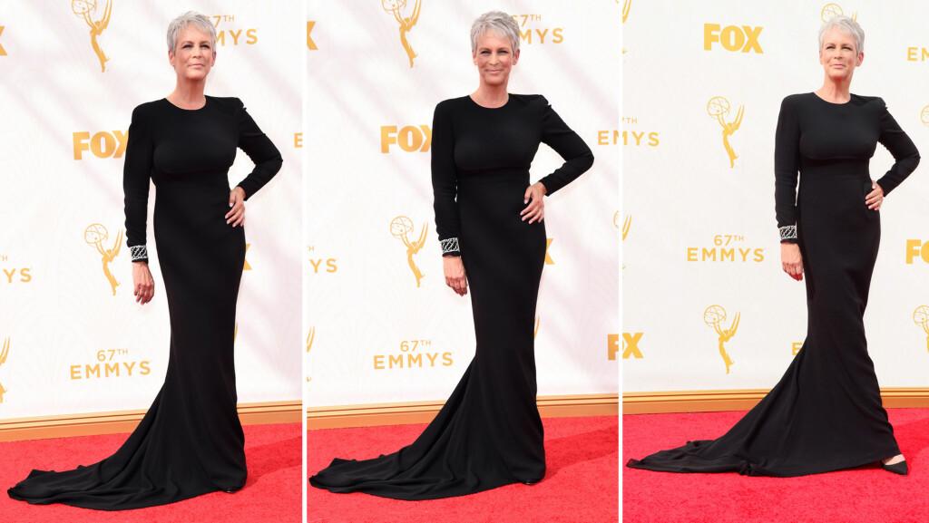 STRÅLTE I SORT: Skuespiller Jamie Lee Curtis beviste virkelig at «less is more» på Emmy Awards natt til mandag. 56-åringens sorte Stella McCartney-kjole satt som støpt, og stjernen holdt tilbehøret enkelt.  Foto: NTB Scanpix