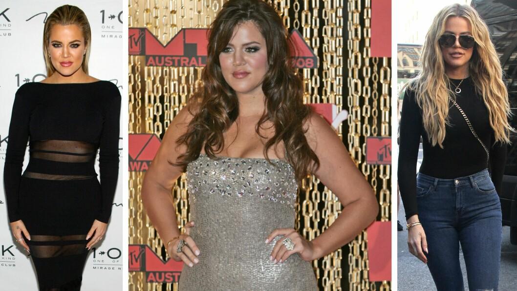 FØR OG NÅ: Bildet til venstre av Khloe Kardashian er fra en event i Las Vegas i mai. Bildet i midten er fra 2008, og bildet til høyre er tatt for et par dager siden. Foto: NTB Scanpix