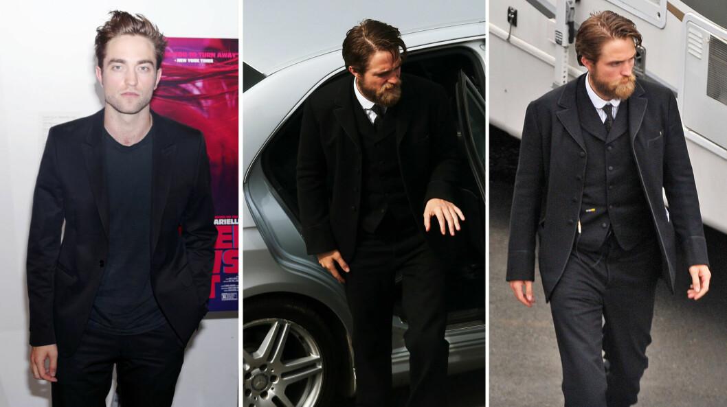 FØR OG NÅ: På «Heaven Knows What»-premieren i New York i mai var Robert Pattinson sitt velkjente, glattbarberte selv. På filmsettet i Belfast i starten av september viste han derimot frem en imponerende skjeggvekst.  Foto: SipaUSA/ Splash News