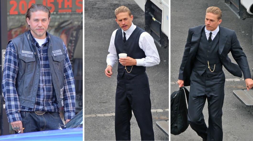 FØR OG NÅ: I «Sons of Anarchy»-rollen som Jackson Teller har Charlie Hunnam vært både langhåret og skjeggete. I sin nye hovedrolle ser kjekkasen mer striglet - og slankere - ut. Foto: wenn.com/ Splash News