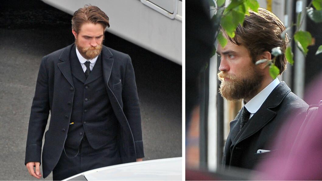 SKJEGGETE STJERNE: Robert Pattinson var ikke helt lett å gjenkjenne på «The Lost City of Z»-settet ved Methodist College i Belfast forrige uke.  Foto: Splash News
