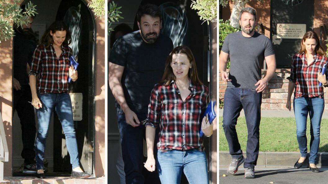 AVSLAPPET STEMNING: Både Ben Affleck og Jennifer Garner så ut til å være i godt humør da de forlot barnelegekontoret i Santa Monica sammen torsdag.  Foto: Broadimage/ Splash News