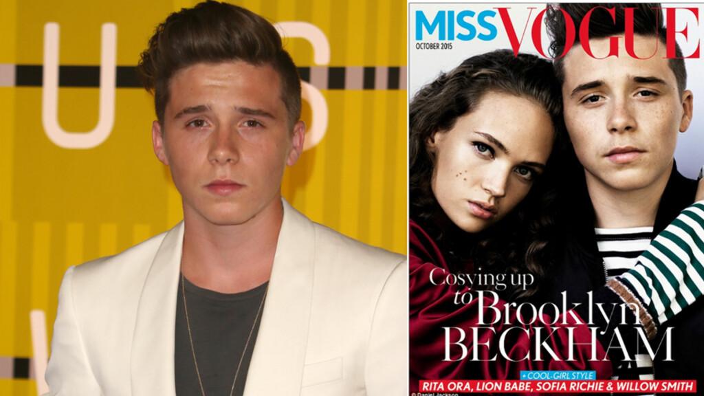 VOGUE: Brooklyn Beckham gjør som sin far og mor, og pryder forsiden av Vogue.