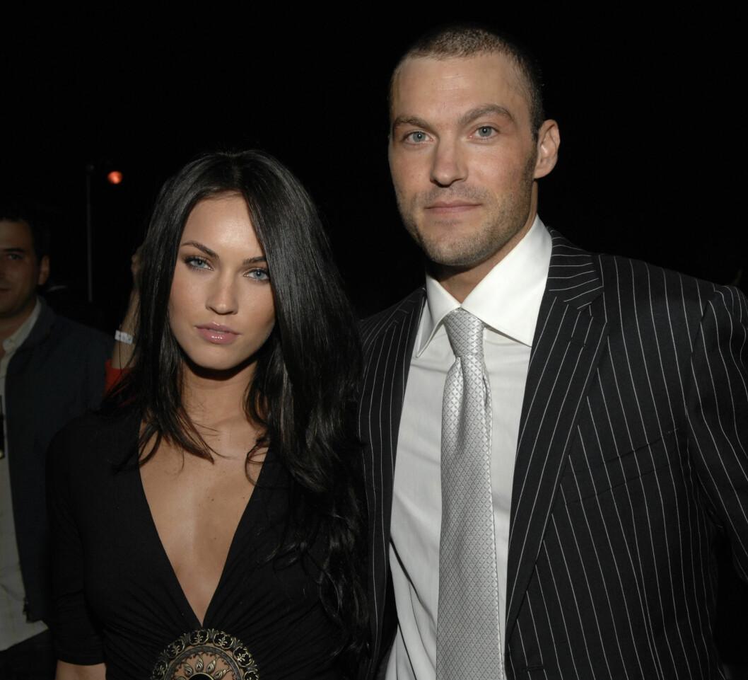 LYKKEN BRAST: Megan Fox og Brian Austin Green har vært kjærester i lang tid. Her er de sammen i 2005 – nå, ti år senere, har de annonsert at de skal skilles. Foto: Scanpix