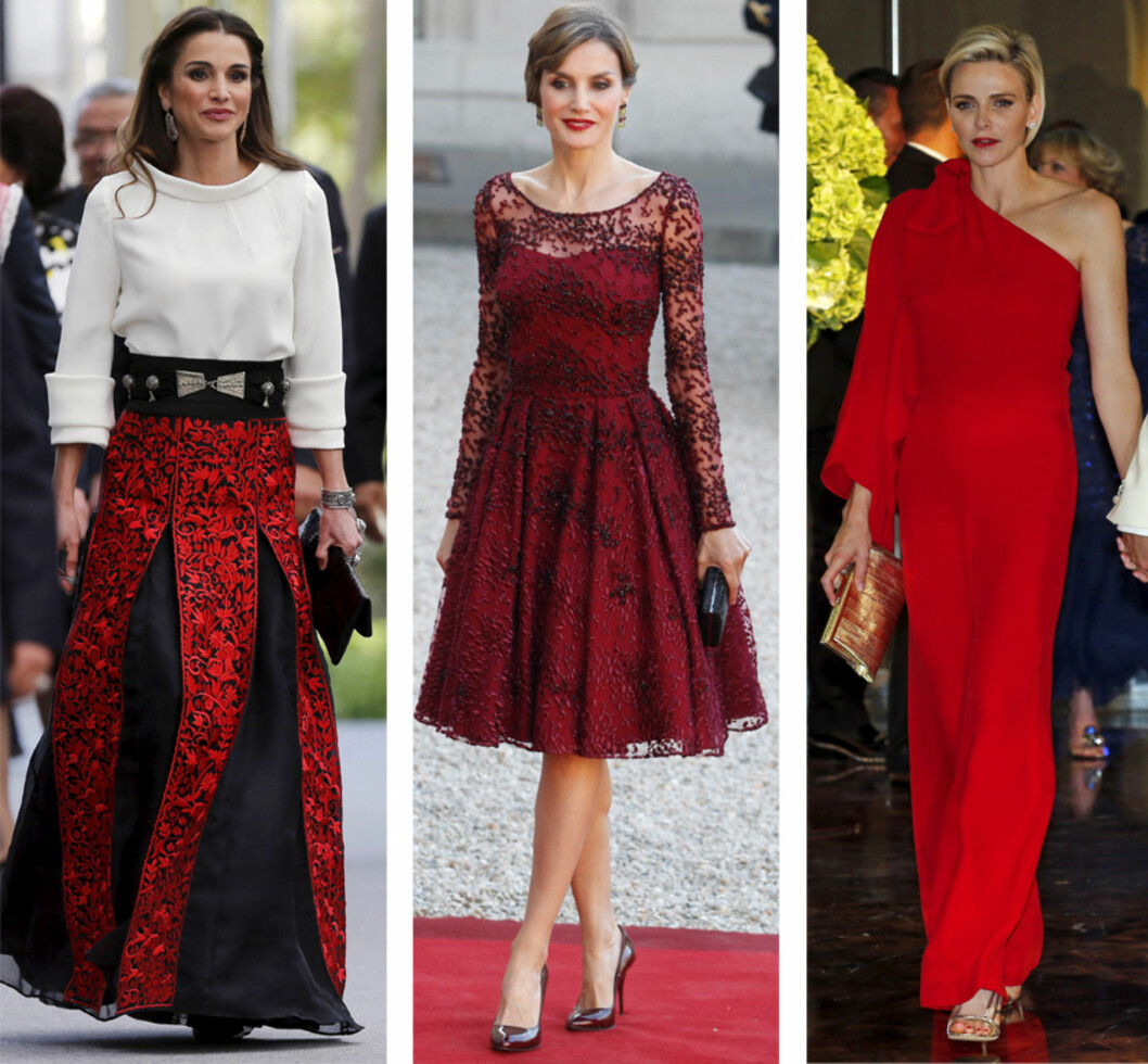 HOTTE ROJALE FRUER: Ingen tvil om at dronning Rania av Jordan, dronning Letizia av Spania og prinsesse Charlene av Monaco alle kler kjærlighetens farge. Foto: NTB Scanpix