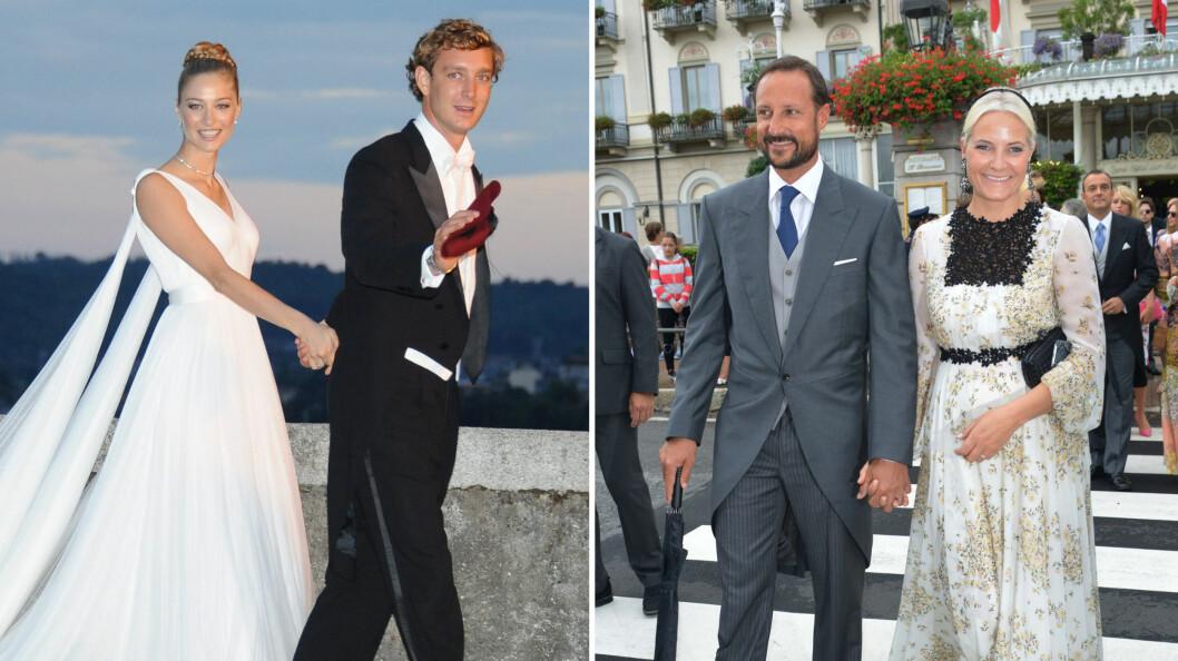 <strong>KONGELIG BRYLLUP:</strong> Da Beatrice Borromeo og Pierre Casiraghi giftet seg nylig, var selvfølgelig vår egen kronprins og -prinsesse på plass. Foto: Splash News