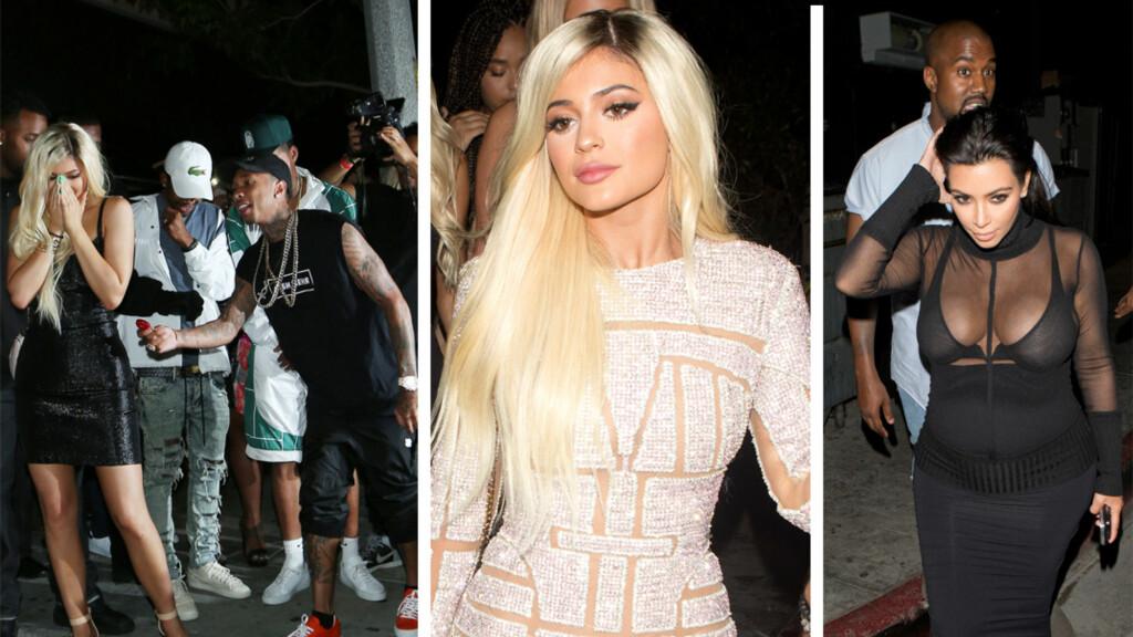 EN GOD BLANDING: Kylie Jenner gikk for en ny, blond look på 18-årsdagen, og ble overrasket av kjæresten Tyga med en splitter ny Ferrari. Hele familien Kardashian/Jenner var samlet for å feire 18-åringen - og blant dem var gravide Kim Kardashian og hennes ektemann Kanye West. Foto: NTB Scanpix