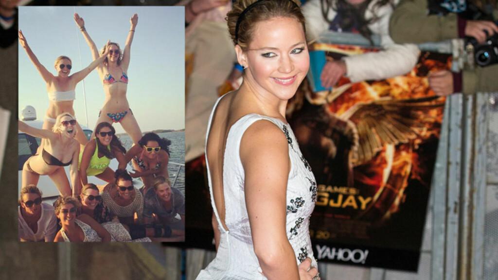 SLO UT HÅRET: Filmstjernen Jennifer Lawrence (bak t.h i innfelt bilde) var blant de inviterte da Amy Schumer (ytterst t.h i innfelt bilde) nøt sommerværet fra en luksusyacht denne uken. Schumer har delt flere feriebilder på Instagram der den nye «bestisen» hennes er med. Foto: Xposure/ Wenn.com