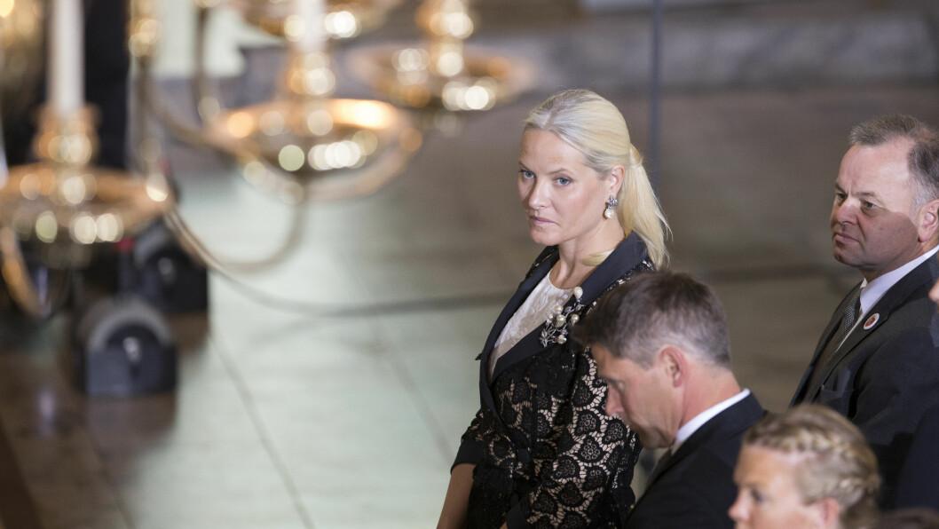 ALVORSTYNGET: Kronprinsesse Mette-Marit under minnegudstjeneste i Oslo domkirke onsdag, fire år etter terrorangrepene 22. juli 2011.  Foto: NTB scanpix