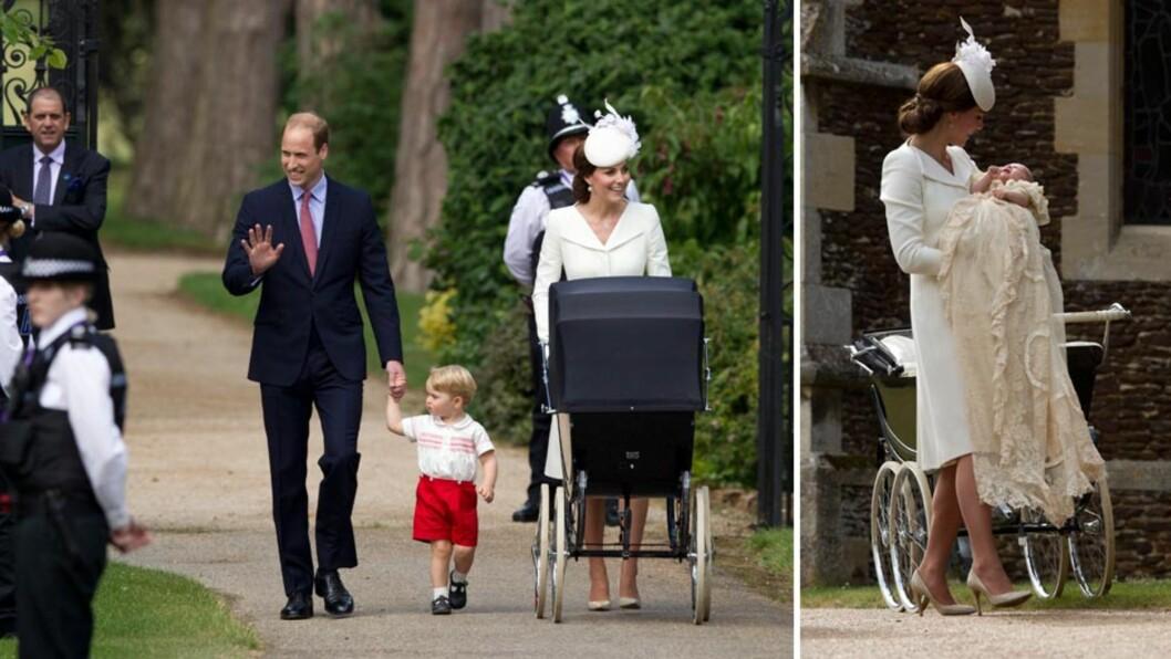 ANKOM TIL JUBEL: Prins William og hertuginne Kate kom til fots sammen med prins George og prinsesse Charlotte, da dåpsseremonien skulle begynne i Sandringham søndag ettermiddag. De oppmøtte jublet av begeistring over hertugparets folkelige ankomst.  Foto: NTB Scanpix