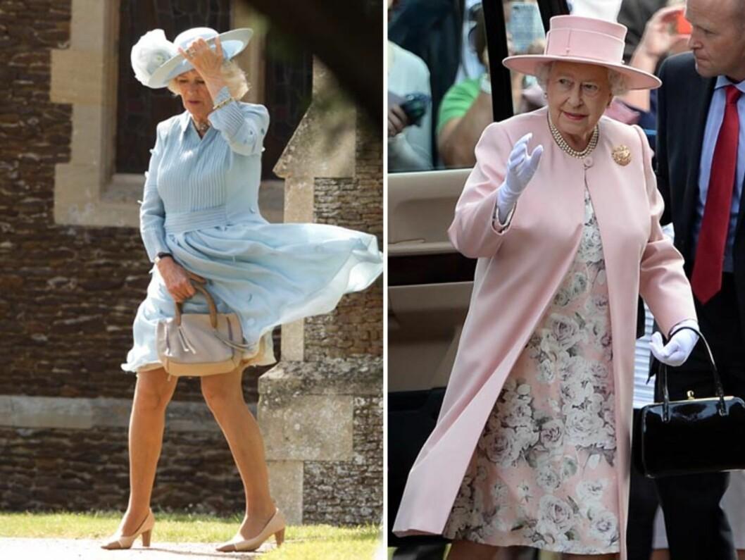 VÅRLIG STIL: Camilla, hertuginne av Cornwall, hadde et lite «Marilyn Moment» i sin isblå drakt på vei inn i kirken. Dronning Elizabeth hilste folket i en pastellrosa kåpe og matchende, blomstrete kjole.  Foto: NTB Scanpix