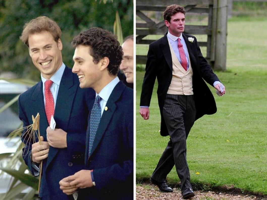 VENNER SOM FADDERE: Prins William har utpekt sine gode venner Tom van Straubenzee (t.v) og James Meade som to av prinsesse Charlottes gudfedre. Foto: NTB Scanpix