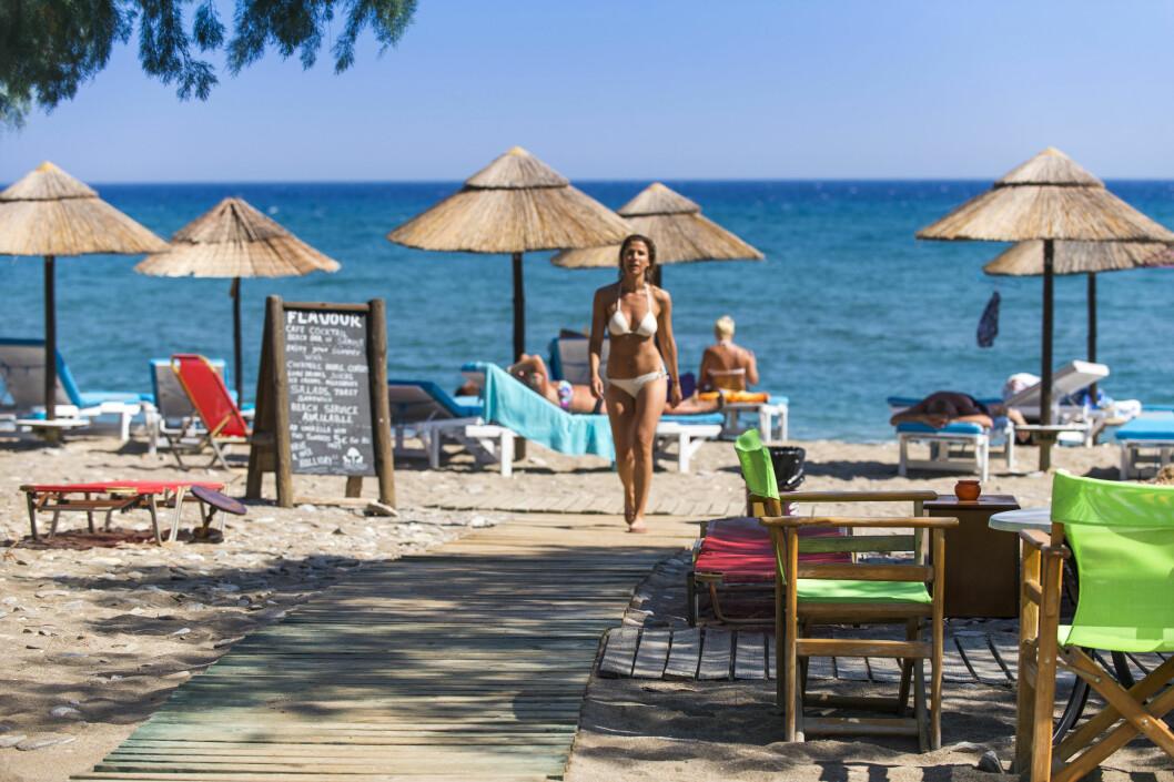 <strong>DEILIG STRANDLIV:</strong> Votsalakia ligger sørvest på Samos, og er en fredelig og fin by. Foto: Star Tour