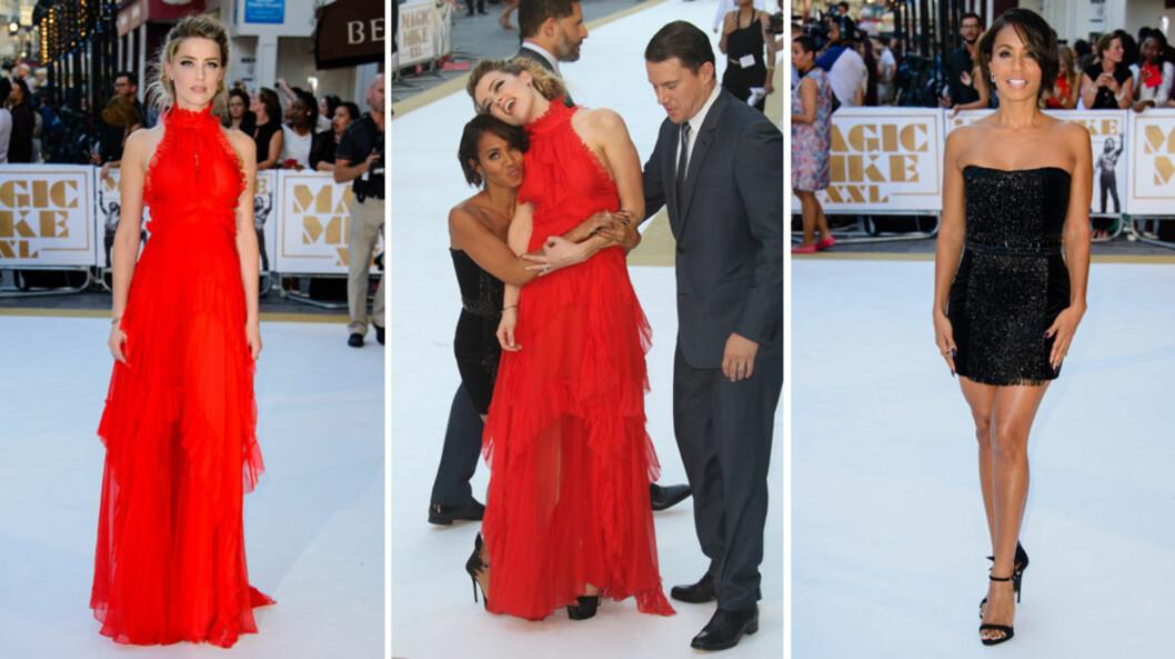 STJAL SHOWET: Amber Heard og Jada Pinkett Smith både spøkte og strålte på filmpremieren. De to stjernene brydde seg ikke om hovedrolleinnehaver Channing Tatums tilstedeværelse da de gjøglet foran fotografene.  Foto: NTB Scanpix