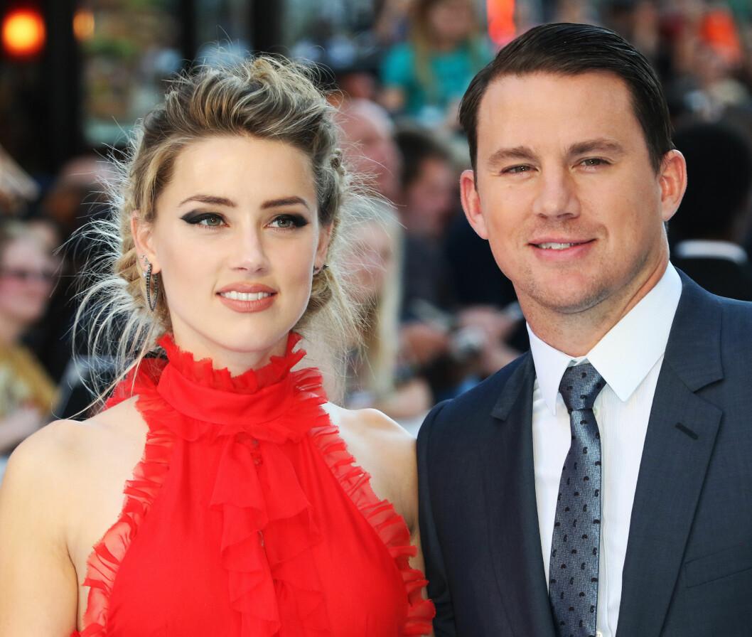 FLOTT DUO: Smellvakre Amber Heard og kjekkas Channing Tatum på «Magic Mike XXL»-premieren i London tirsdag kveld. Foto: Zuma Press