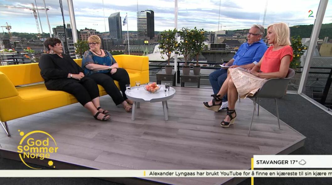 SNAKKET UT: Søsknene Kirsti og Trine fortalte historien da de tirsdag gjestet God sommer Norge. Foto: TV 2