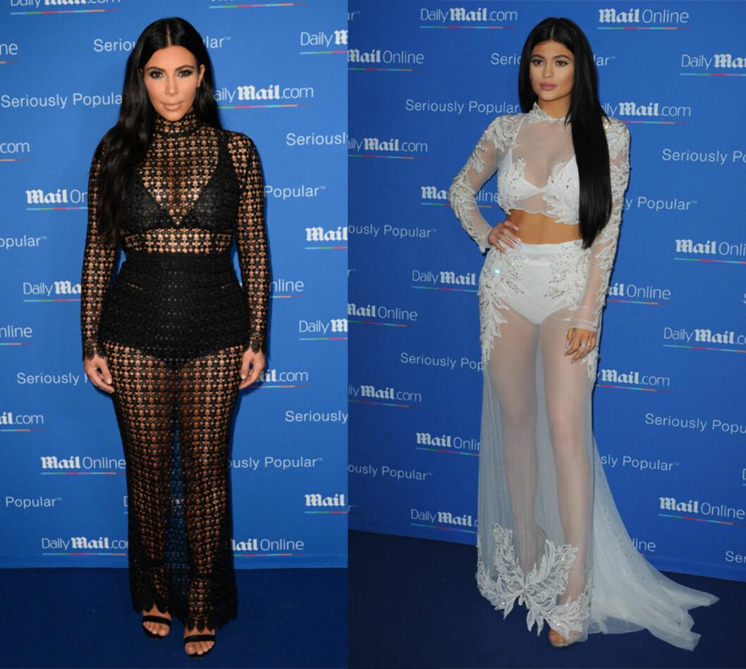 LIKE: Lillesøster Kylie Jenner (t.h.) blir stadig mer lik sin berømte halv-storesøster Kim Kardashian. Denne uken stilte de i samme type antrekk under yacht-festligheter i Cannes. Foto: NTB Scanpix