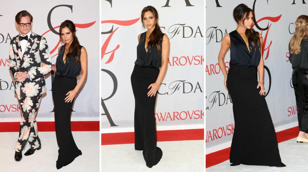 <strong>FIKK FULLT FOKUS:</strong> Da Victoria Beckham ankom CFDA Fashion Awards sammen med moteredaktør Hamish Bowles (t.v) mandag, stjal hun mesteparten av oppmerksomheten fra prisvinnerne Ashley og Mary-Kate Olsen - som såvidt er synlige ytterst til høyre. Foto: NTB Scanpix