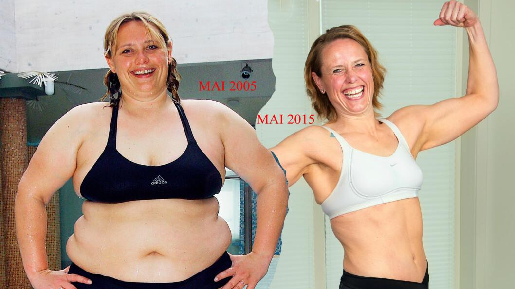 50 KILO LETTERE: Linda Stokkeland veide 132 første gang hun dukket opp på TV-skjermen. 10 år senere er hun 50 kilo lettere og ventrent. Fotomontasjen viser den ekstreme forvandlingen. Foto: PRIVAT/TOR LINDSETH/SE OG HØR