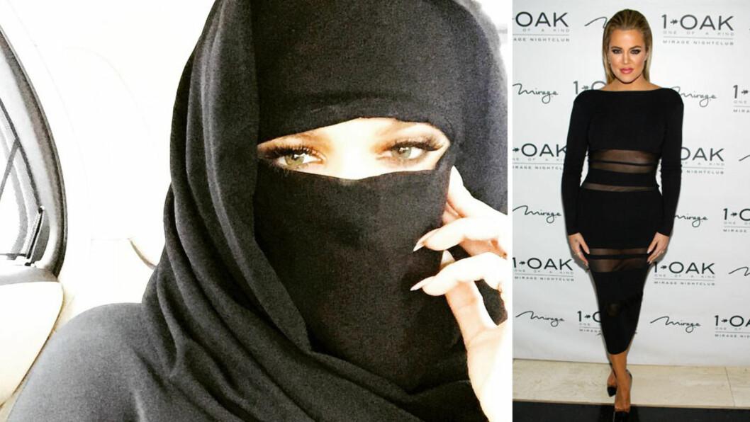 DEKKET SEG TIL: Khloé Kardashian er ikke fremmed for å vise seg frem, slik hun gjorde som vertinne på Las Vegas-nattklubben 1OAKs Memorial Day Weekend Party forrige helg (t.h). Da hun dekket seg til med en niqab i Dubai tirsdag, skapte hun imidlertid debatt. Foto: NTB Scanpix