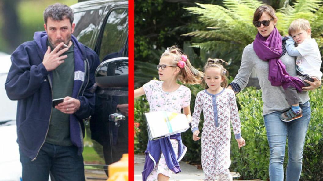 MIDTLIVSKRISE: Amerikansk presse hevder at Ben Affleck sliter på hjemmebane, og at han tidligere i år stakk av til et kloster i Canada for å «finne ut av ting, og klarere hode og tanker». Hjemme i Los Angeles er det kona Jennifer Garner som holder fortet for parets tre barn. Disse bildene er tatt i mai. Foto: NTB Scanpix