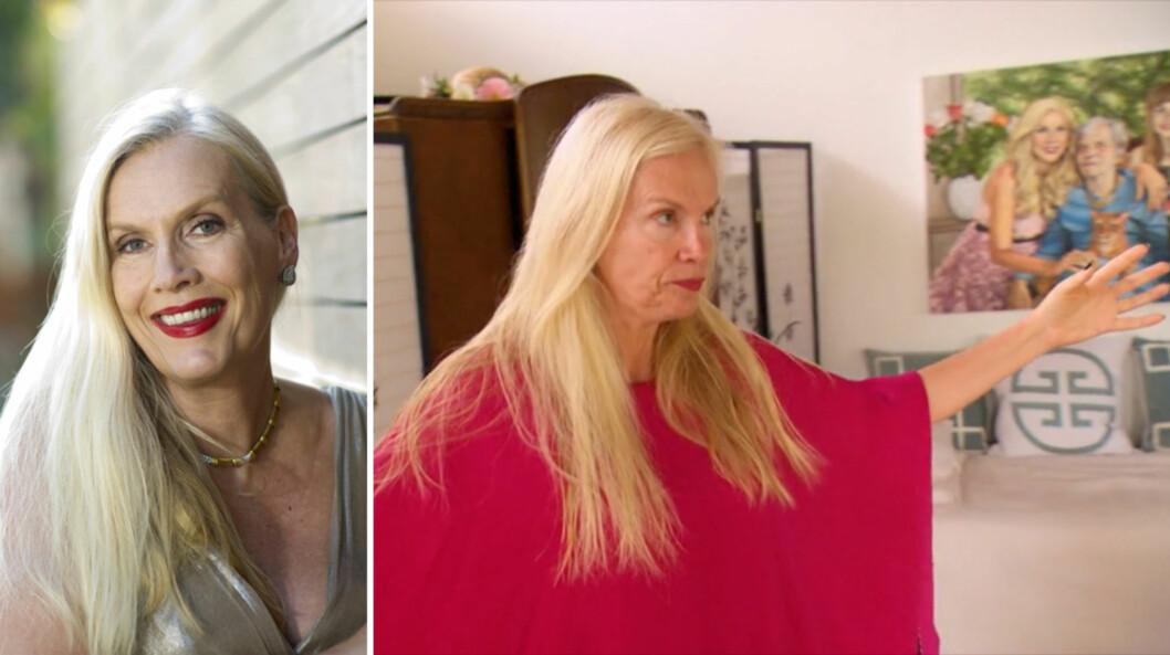 GÅR OPP I ROLLEN: I ukens episode av «Svenske Hollywoodfruer» viser den vanligvis så glamorøse Gunilla Persson seg uten sminke, for rollen hun skal spille fra manuskriptet sitt. Foto: NTB Scanpix/ TV3