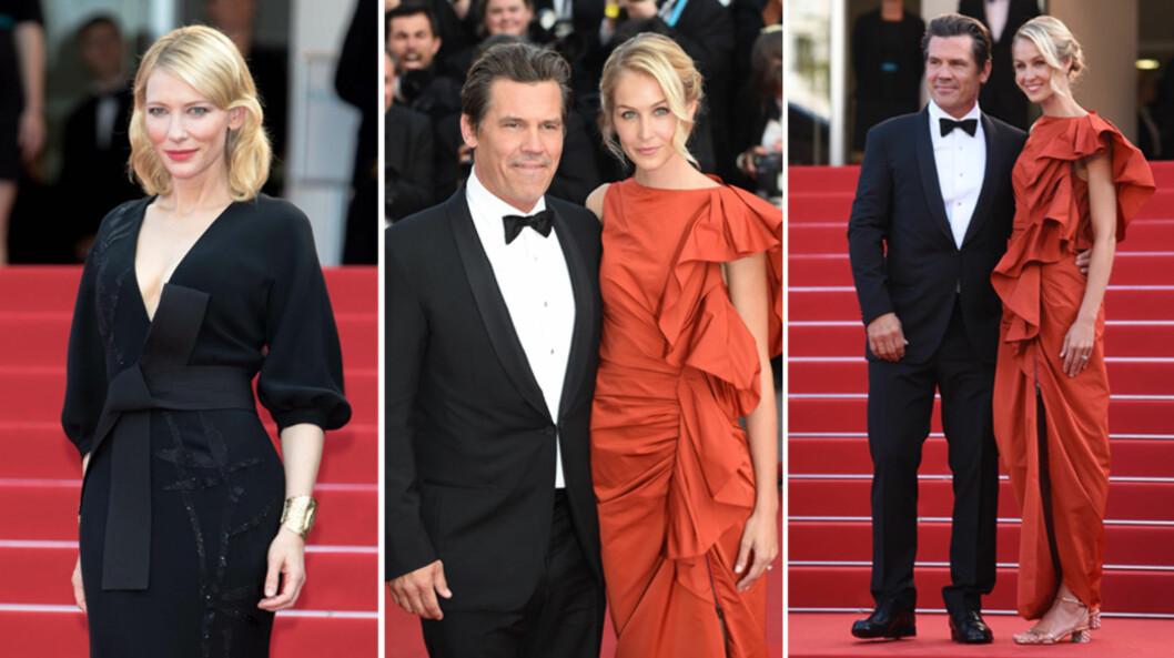 STRÅLTE I CANNES: Cate Blanchett (t.v) imponerte i sort på «Sicario»-premieren tirsdag, mens Josh Brolin kom sammen med forloveden Kathryn Boyd - legg merke til forlovelsesringen hennes! Foto: NTB Scanpix