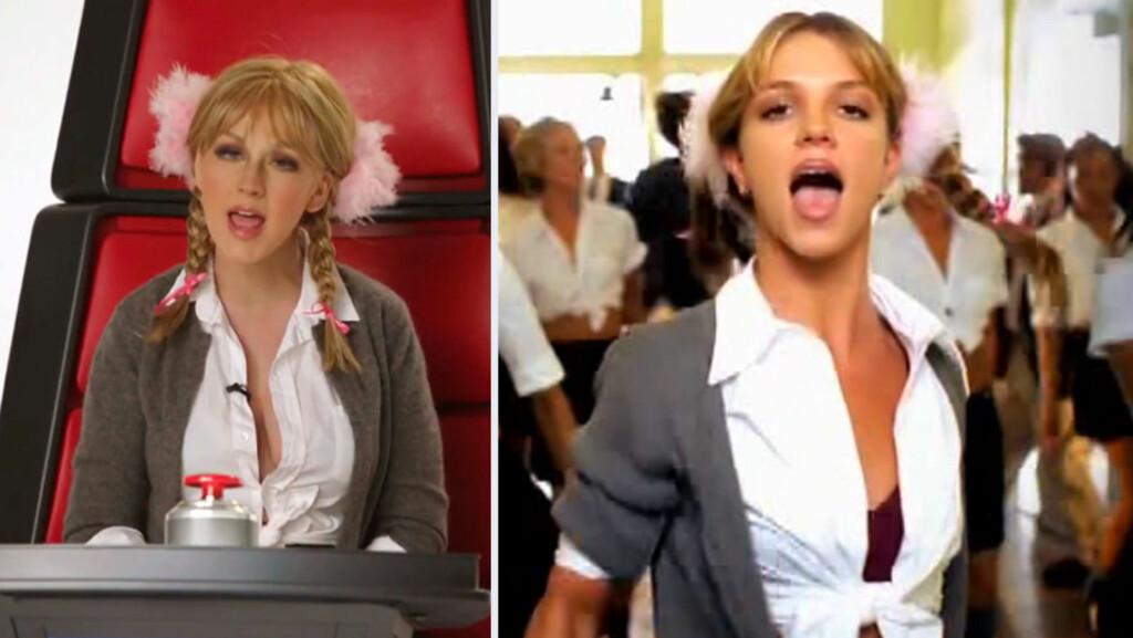 RIVAL: Christina Aguilera etterligner sin tidligere rival, Britney Spears, i forbindelse med «The Voice».