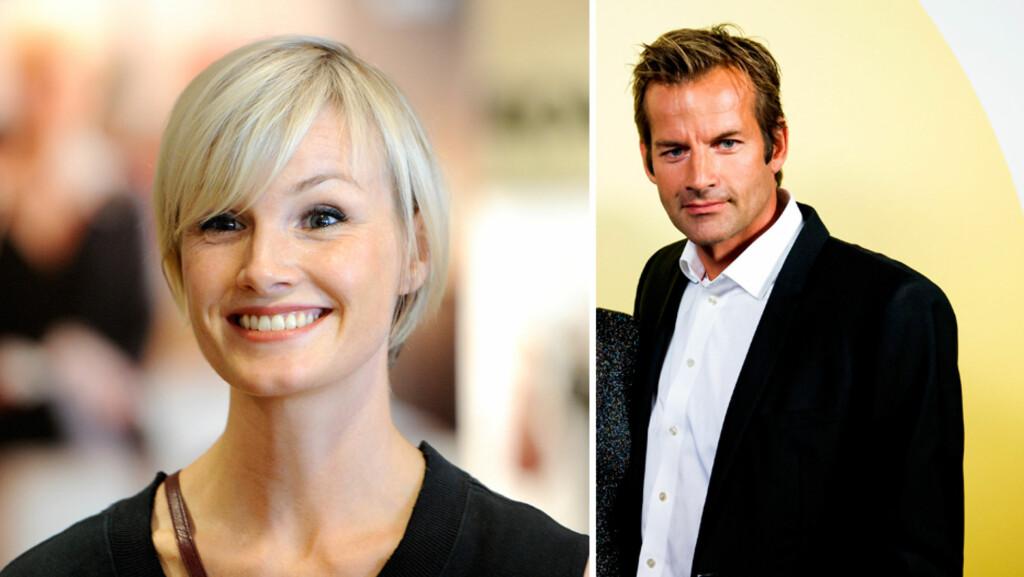 NRK-KJEKKAS: Både skuespiller Lena Kristin Ellingsen og programleder Jon Almaas er velkjente NRK-profiler. På spørsmål fra blogger Vanessa Rudjord, var «Himmelblå»-stjernen først ikke i tvil om hvilken kjendismann hun ville ligget med... Foto: NTB Scanpix