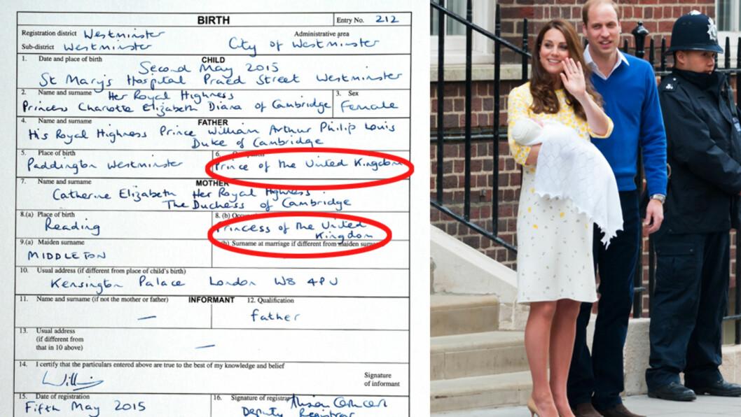 <strong>HARDTARBEIDENDE TOBARNSFORELDRE?:</strong> Life&Style stusser på prins William og hertuginne Kates «yrkestitler» på den ferske fødselsattesten til lille prinsesse Charlotte. Den nyfødte er nummer fire i arverekken til den britiske tronen. Foto: Splash News/ NTB Scanpix