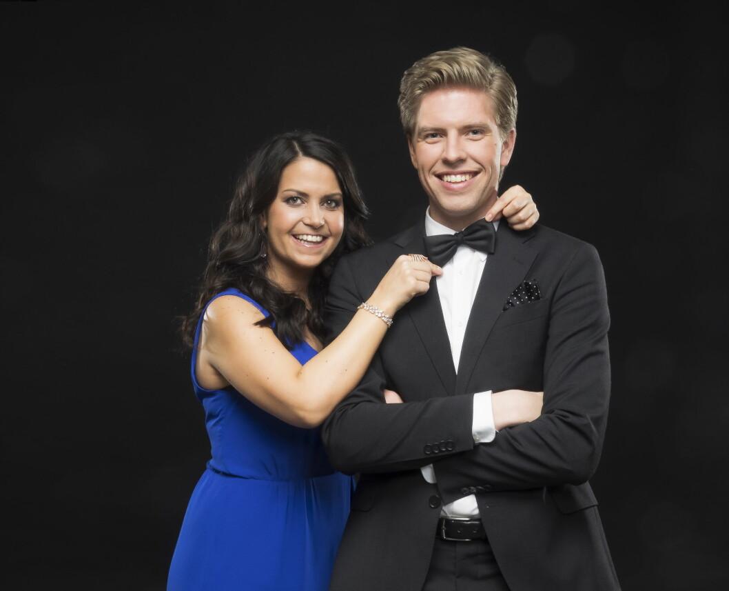 MORSOMT PAR: Cecilie Steinmann Neess og Jakob Schøyen Andersen skal være programledere for Gullruten på TV 2 lørdag. Foto: TV 2