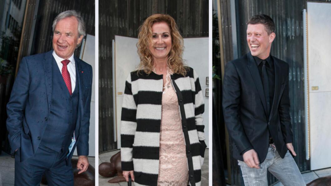STØTTE: Bjørn Kjos, Karita Bekkemellem og Jan Fredrik Karlsen var blant kjendisene som dukket opp onsdag kveld.  Foto: Erlend Haugen / Se og Hør