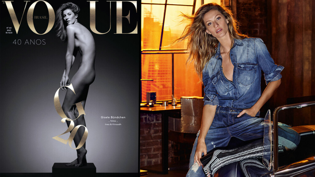 NAKEN PÅ COVERET: Gisele Bundchen lar klærne falle, og stiller naken på coveret til brasilianske Vogue. Foto: Stella Pictures