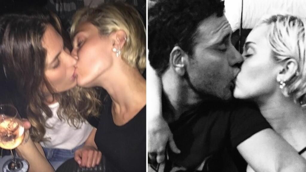 KLINTE TIL: Nysingle Miley Cyrus tok den helt ut på fest i partybyen Las Vegas denne uken, og klinte til, med ikke bare en, men to ulike mennesker. Foto: Instagram/Mert & Marcus