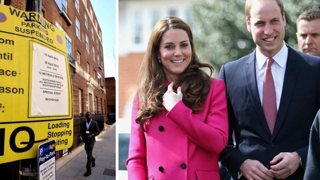 FORBEREDT PÅ FØDSEL: Utenfor fødeklinikken The Lindo Wing på St. Marys Hospital i London, er gaten nå blitt sperret for parkering. I løpet av de to neste ukene er sykehuset klare for å ta imot hertuginne Kate og prins William til fødestuen når som helst. Foto: NTB Scanpix