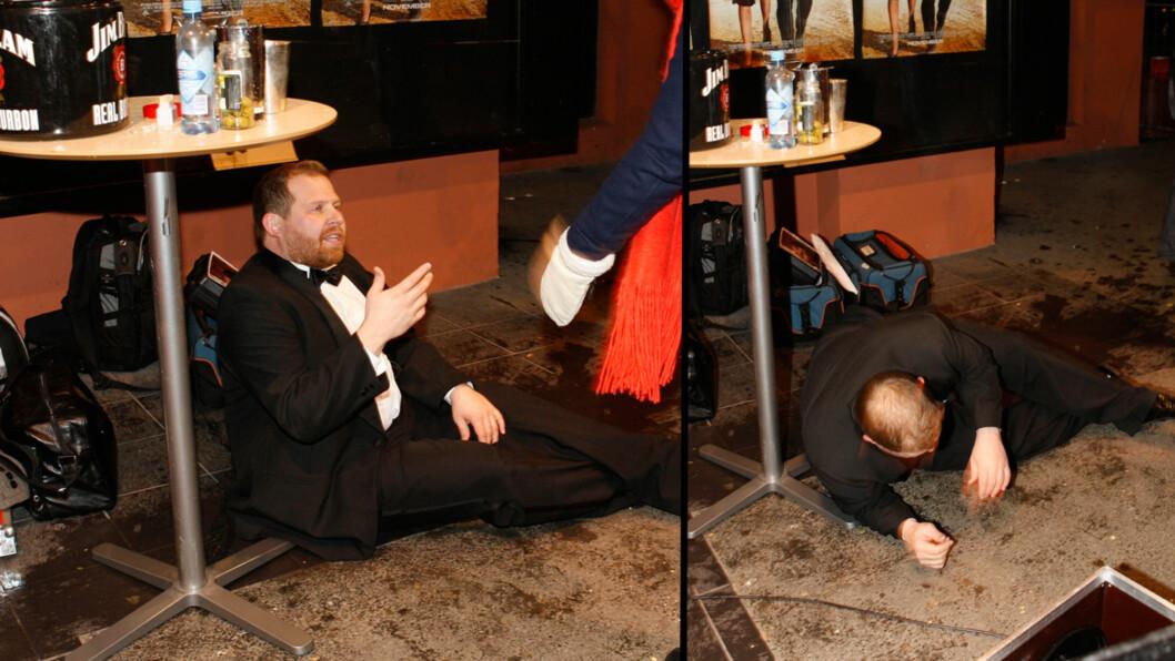 KRAFTIG BERUSET: Truls Svendsen snublet over et bord og knuste et glass i beruset tilstand på premieren til James Bond-filmen Quantum of Solace i 2008. Foto: NTB Scanpix