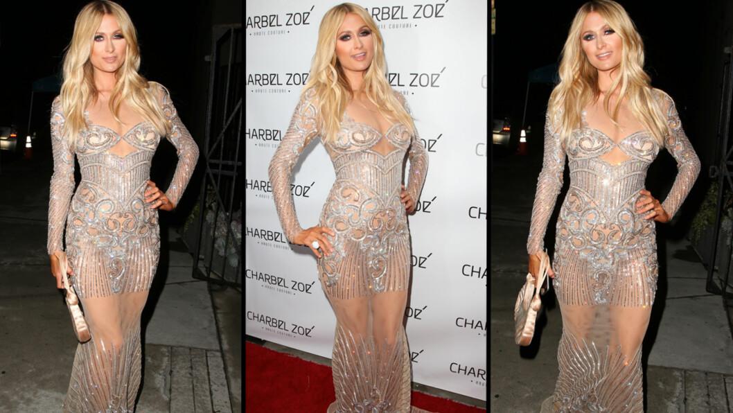 DRISTIG: Paris Hilton overlot lite til fantasien da hun ankom den røde løperen i Los Angeles i denne kjolen. Foto: Stella Pictures