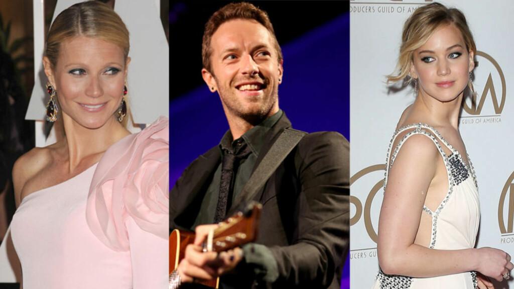 KJENDISTRIO: Den britiske artisten Chris Martin har falt for to av Hollywoods hotteste babes. Påsken feiret han først med ekskona Gwyneth Paltrow (t.v.) og så med kjæresten Jennifer Lawrence.  Foto: NTB Scanpix