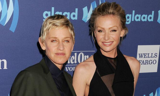 <strong>SUPERPAR:</strong> Ellen og Portia giftet seg i 2008, og har siden det vært et av verdens mest populære par. Forholdet har derimot ikke vært helt udramatisk. Foto: NTB scanpix