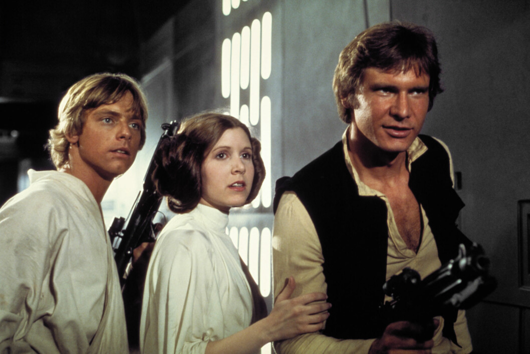 SAMLES IGJEN: Harrison Ford, Carrie Fisher and Mark Hamill i «Star Wars» anno 1977. I desember har «Star Wars: The Force Awakens» premiere.  Foto: All Over Press