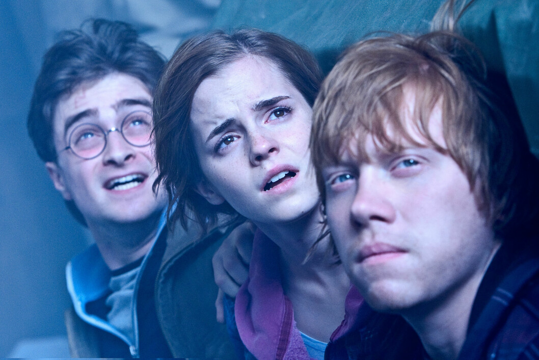 BESTEVENNER PÅ FILM: Daniel Radcliffe som Harry Potter (t.v), Emma Watson som Hermine og Rupert Grint som Ron.    Foto: All Over Press