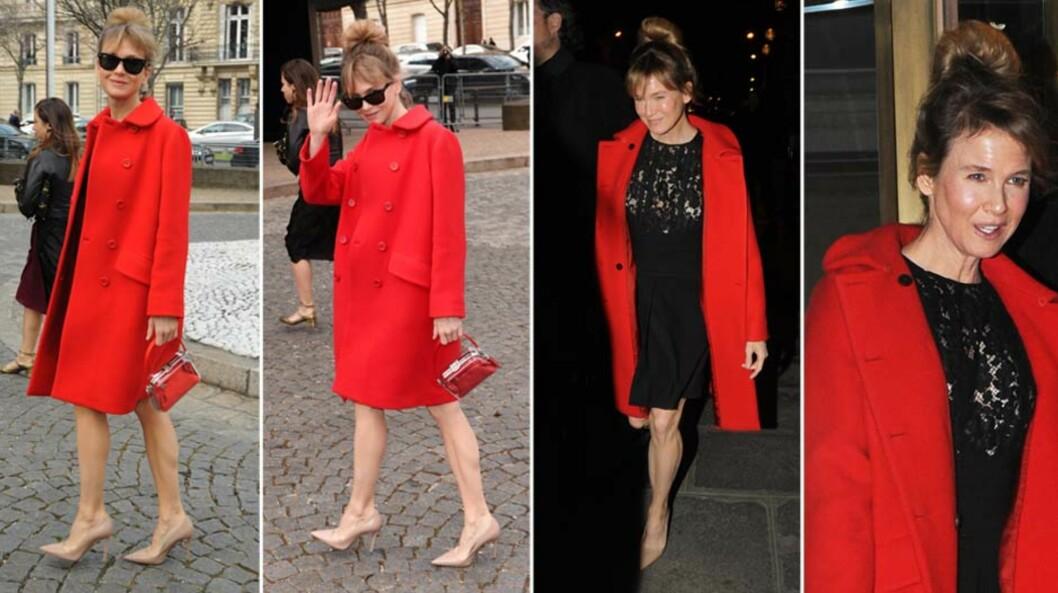 UTE PÅ VIFT: Renée Zellweger tok seg flott ut en knallrød kåpe, matchende veske og sort blondekjole på onsdagens Miu Miu-visning i Paris. Også på kvelden viste hun seg offentlig. Foto: All Over Press
