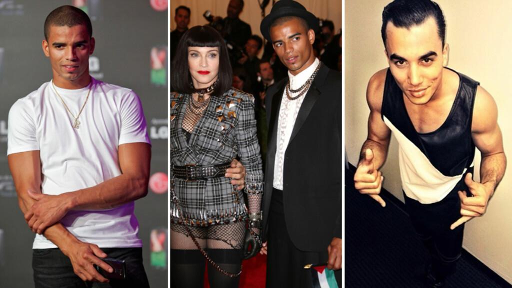 LIKER UNGE MENN: De siste årene har Madonna vært sammen med danserne Brahim Zaibat (t.v) og Timor Steffens, som begge er drøyt 30 år yngre enn henne. Førstnevnte var også kavaleren hennes på Met-gallen i New York i mai 2013. Foto: All Over Press