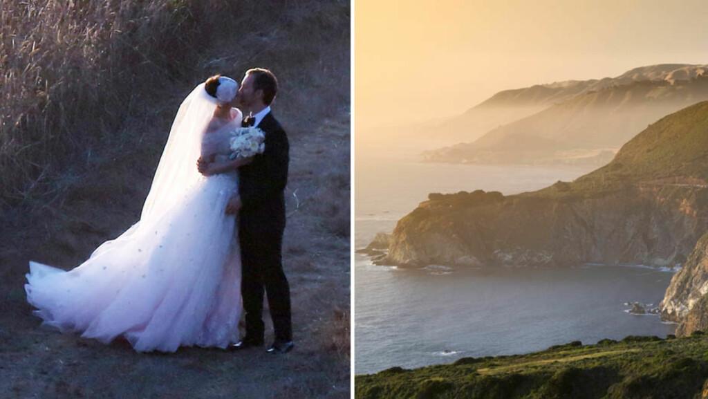 ROMANTISKE OMGIVELSER: Anne Hathaway og Adam Schulman giftet seg ved solnedgang i Big Sur i California høsten 2012. Paret er ikke de eneste stjernene som har feiret kjærligheten i de naturskjønne omgivelsene ved Stillehavskysten! Foto: Splash News/ All Over Press